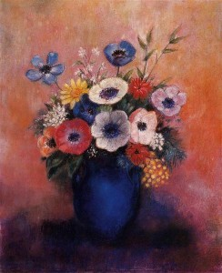 bouquet-of-flowers-in-a-blue-vase-Odilon_Redon