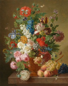 Jan_Frans_van_Dael_-_Still_life_of_roses_peonies_tulips_auriculas_an_iris_and_other_flowers_in_an_alabaster_vase_with_fruit_on_a_stone_ledge